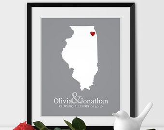 Illinois State Map Art, Chicago Wedding Gift for Couples Anniversary Gift Personalized Couples Gift for Her Illinois Gift -Any STATE