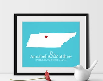 Tennessee Art Print, Tennessee Wedding Map of Nashville Gift for Couples Wedding Gift 1st Anniversary Gift Bride & Groom Gift -Any STATE