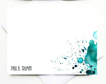 Abstract Watercolor Stationery Watercolor Cards Watercolor Note Cards Watercolour Cards Personalized Gifts for Men Custom Stationery Cards