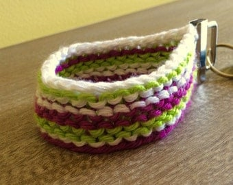 Pink, Lime, and White Keychain Wristlet