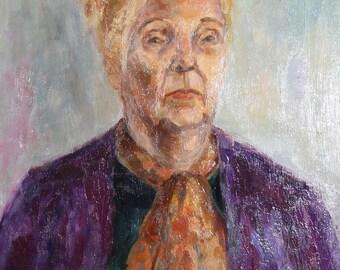 Vintage oil painting sitting woman portrait