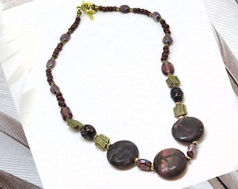 Agate & Glass Bead, 16in Necklace