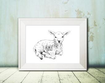 Lamb wall art, Lamb printable, Nursery wall Art, Nursery art, Kids room decor, Teen decor