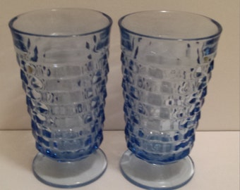 Blue Whitehall Indiana Glass Footed Tumblers