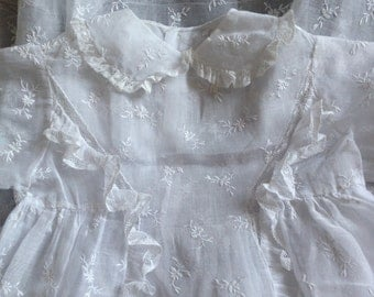 Antique French Handmade Christening Gown with Fine Hand Embroidery