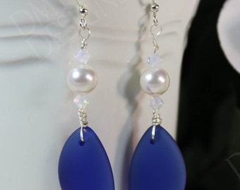 Cobalt Seaglass Earrings