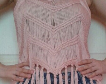 Pink knitted tank top / camisole with fringe - From Thailand