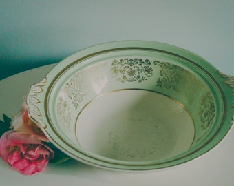 Mint Green and Gold Serving Bowl, Made in England, Made by Johnson Bros, Pareek Collection