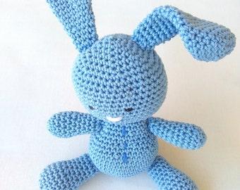 Baby gift, crochet bunny, amigurumi animal, amigurumi bunny, something blue,Easter bunny,natural baby toy, ecological toys