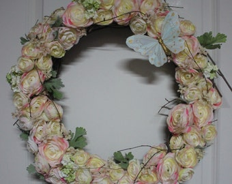 Spring Wreath, Ranunculus Wreath, Spring Wreaths for Front Door, Summer Wreath, Wreaths, Mother's Day Gift, Spring Décor, Housewarming Gift