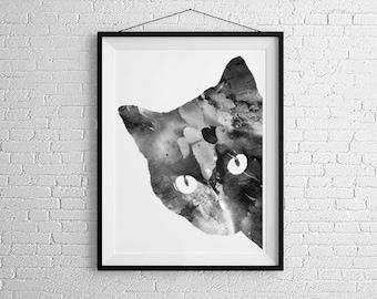 Cat gift - Cat artwork - Cat print - Cat gallery -  Black cat - Office Art - Home Decor - Cat Wall Art - Cat Watercolor - Kitty - Kitten -