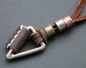Mens Leather Necklace ,Mens Necklace, Geometric triangle Necklace,Men's exotic necklace,womens necklace,unique necklace,Father Gift