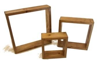 Wood Shelves Reclaimed Wood  Set of 3 Shelves Square Wood Shelves Rustic Wood Shelves Reclaimed Wood Decor Box Shelves shadow box wall decor
