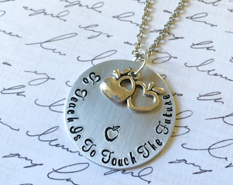 Teacher Gift-Daycare Gift-Teacher Appreciation-Hand Stamped Jewelry-Student Appreciation-To Teach Necklace-Teacher Necklace