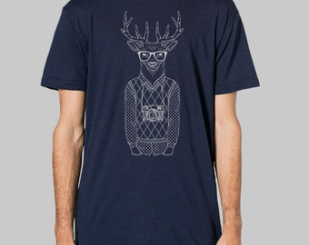 Hipster Shirt - deer shirt, graphic tees for men, mens tees, t shirts for men, deer with glasses