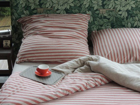 Jersey Bed Linen For Simple Full Or Queen Size Bed Coral