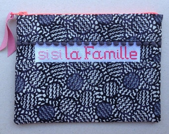 """Sleeve seam and """"Sisi family"""" cross stitch Embroidery hand made"""