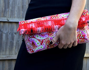 Foldover clutch bag, Fold over clutch purse, Evening clutch handmade handbag, Fabric clutch women handbag, Red clutch bridesmaid gift