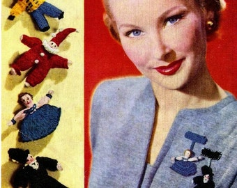 Vintage 1940's Knitting Pattern to make A Selection of Lapel Dolls for Brooches Hats & Bags by PDF for Immediate Digital Delivery