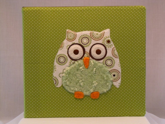 12x12 Postbound Fabric Scrapbook Photo Album Memory Book Baby Owl Owlet Wisdom Lime Green Brown Hoot Applique AO75 Album Outfitters