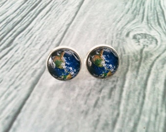 Earth earrings, planet jewelry, space earrings, stud earrings, hypoallergenic, universe, solar system, geek gift idea, technology