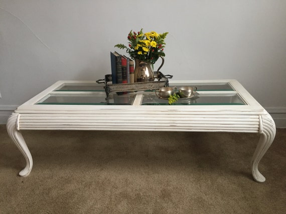 Vintage White Painted Coffee Table With Glass Top