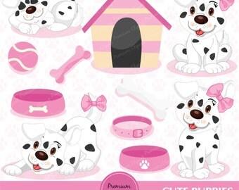Puppy clipart, pink puppy clipart, dog birthday clipart, puppy clipart, dog clipart digital clipart - CA136