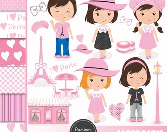 Paris clipart, Paris Girls Clipart, Eiffel Tower Clipart, Paris Theme Party, Digital Clipart - CL102