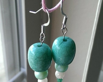 Hand crafted turquoise drop earrings.