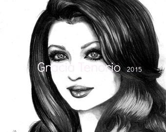Aishwarya Rai minimalist portrait,pencil. Ready to print from original
