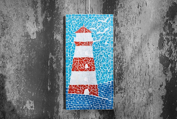 Red Mosaic Wall Decor : Lighthouse mosaic wall hanging home decor nautical blue red