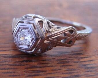 Antique Art Deco Engagement Ring | 18K White Gold, Diamond Solitaire | Vintage Art Nouveau Ring