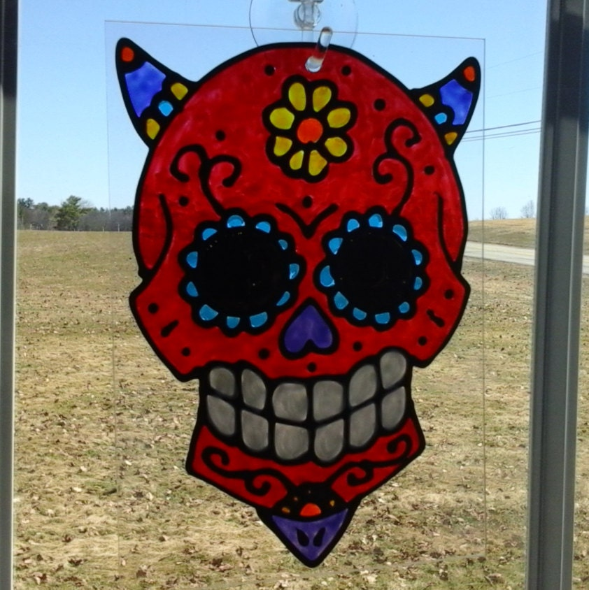 Sugar Skull Devil Red Sun-Catcher by AriesmoonCrafts on Etsy