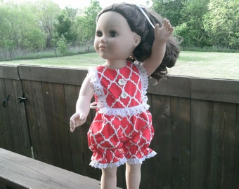 """American Girl or 18 Inch Doll Clothes / Vintage Retro 50s Style Red-White """"Bubble"""" Sun Suit"""