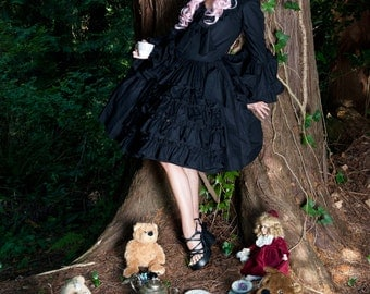Gothic Lolita Dress -  Goth Loli Dress - Black Dress - Goth Dress - Gothic Dress - Cosplay Dress - Ruffled Dress - Custom Size - Plus Sizes