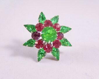 Vintage Coro Pink and Green Rhinestone Pin