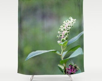 Green Plant,Shower Curtain,Green,Purple,White,Floral,BathCurtain,Bathroom Decor,Accessories,Bathroom Art,Designer Curtain,Interior Design