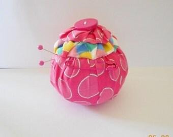 YO YO Pincushion. Handmade. Pink Cotton Fabric.
