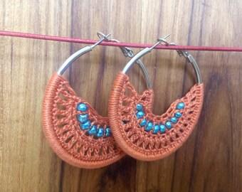 Copper Bohemian Crochet Hoop Earrings