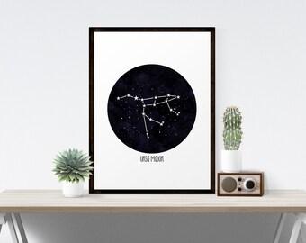 Ursa Major Constellation Astronomy Art Print,  Constellation Print, The Big Dipper, The Great Bear, Wall Art, Poster, Print Stargazer Series