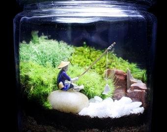 Fisherman Terrarium // Japanese Garden Terrarium // Moss Terrarium // Japanese Mudman