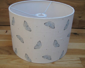 Handmade Drum Lampshade in Peony & Sage Faded Dotty Butterflies Linen