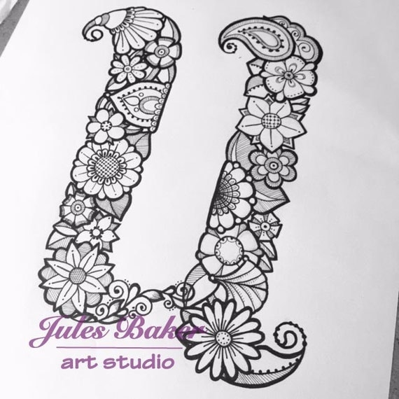 Digital Coloring Page Letter U From