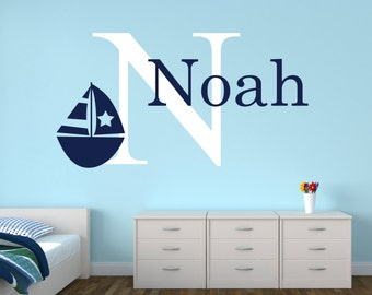Name Wall Decal - Sailboat Wall Decal - Nautical Baby Room Decor - Nursery Wall Decals Vinyl