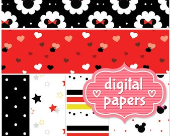 Disney Inspired Mickey and Minnie printable digital paper backgrounds and patterns for personal and commercial use - High Resolution 300 DPI