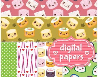 I love Sushi printable digital paper backgrounds and patterns for personal and commercial use - High Resolution 300 DPI