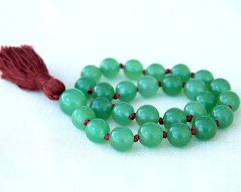 Green Jade Pocket Mala Beads, Buddhist Prayer Hand Knotted Meditation Beads, Buddhist Prayer 27 Beads Mala