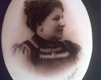 Victorian Woman Portrait on Ceramic-Victorian female portrait on ceramics