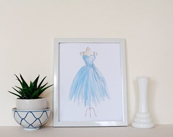 Blue Dress // Hand Painted / 8 x 10 / 5 x 7 / Art Print / Watercolor / Feminine / Girl's Room / Nursery Decor