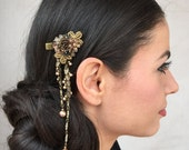 Downton Abbey hair jewelry - Antique gold dangle beaded floral hairclip